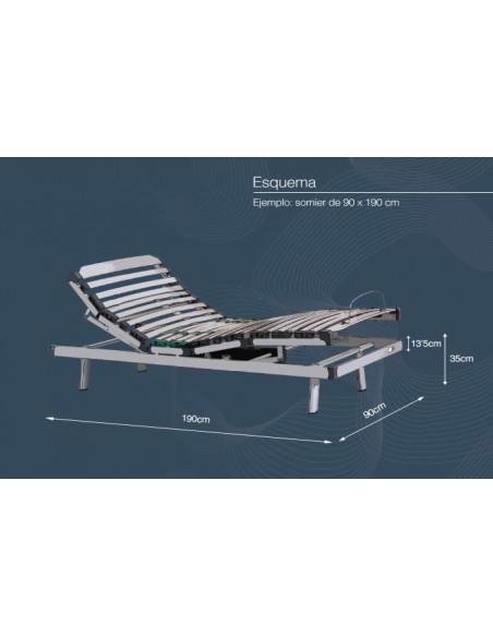 Somier eléctrico. Ejemplo de cama con dimensiones de 90 x 190 cm.
